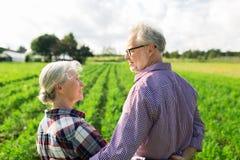 Coppie senior felici all'azienda agricola di estate Immagini Stock Libere da Diritti