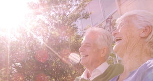 Coppie senior felici che si siedono insieme stock footage