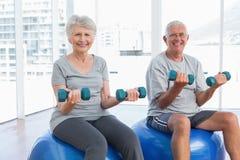 Coppie senior felici che si siedono sulle palle di forma fisica con le teste di legno Fotografie Stock Libere da Diritti