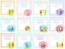 Coppie senior messe manifesti felici di giorno dei nonni Immagine Stock Libera da Diritti
