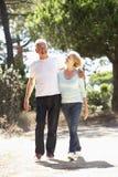 Coppie senior sulla passeggiata romantica in campagna Fotografie Stock Libere da Diritti