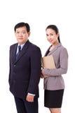 Coppie sicure e riuscite il gruppo di amministrazione superiore, capo con Fotografie Stock
