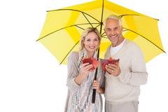 Coppie sorridenti che mostrano le foglie di autunno sotto l'ombrello Fotografia Stock Libera da Diritti