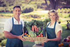 Coppie sorridenti dell'agricoltore che tengono un canestro di verdure Immagini Stock