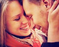 Coppie sorridenti nell'amore Fotografia Stock Libera da Diritti