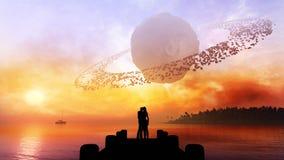 Coppie sotto il cielo di fantasia illustrazione vettoriale