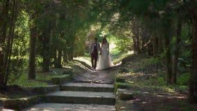 Coppie splendide di nozze che camminano nel parco fra il tunnel della natura degli alberi archivi video
