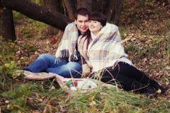 Coppie su un picnic Immagine Stock