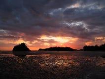Coppie sulla spiaggia al fondo fantastico di tramonto immagini stock