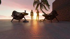 Coppie sulle vacanze estive royalty illustrazione gratis