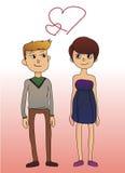 Coppie sveglie nell'illustrazione di vettore di amore Immagini Stock Libere da Diritti
