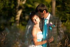 Coppie tenere romantiche di abbraccio nelle erbe Fotografie Stock Libere da Diritti