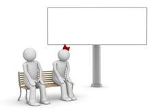 Coppie timide su un banco con copyspace Illustrazione Vettoriale