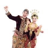 Coppie tradizionali felici di nozze di Java Immagine Stock