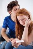 Coppie tristi con il test di gravidanza Fotografia Stock Libera da Diritti
