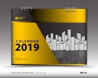 Copra il calendario da scrivania per il vettore del modello da 2019 anni, la disposizione della copertina di libro, il rapporto a illustrazione vettoriale
