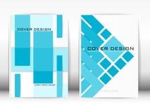 Copra il cielo blu geometrico della pubblicazione del modello di progettazione su bianco Fotografia Stock