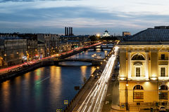 Copra la vista sul fiume di Fontanka a St Petersburg ad uguagliare il ill Fotografia Stock Libera da Diritti