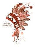 Copricapo americano del capo indiano dell'acquerello Fotografia Stock Libera da Diritti