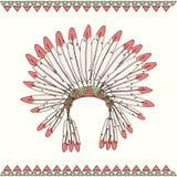 Copricapo disegnato a mano del capo indiano del nativo americano Fotografia Stock