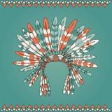 Copricapo disegnato a mano del capo indiano del nativo americano Immagini Stock Libere da Diritti