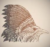 Copricapo disegnato a mano dell'indiano del nativo americano Immagini Stock Libere da Diritti