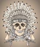Copricapo indiano del nativo americano disegnato a mano con il cranio umano e Fotografia Stock Libera da Diritti