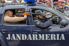 Cops from gendarmerie simulating a mission Royalty Free Stock Image