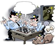 Cops playing chess - Thief is at stake Royalty Free Stock Photo