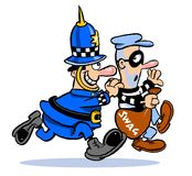 Cops and robbers cartoon Stock Image