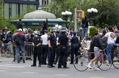 Cops wear helmets while working Union Square NYC during George Floyd protest