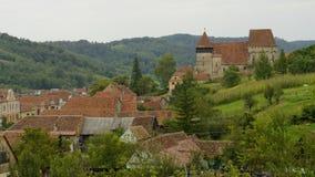 Copsa母马,特兰西瓦尼亚,罗马尼亚国家风景  免版税库存照片