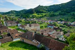 Copsa Mare saxon village with his fortified church, near Biertan, Sibiu county, Transylvania, Romania Stock Images
