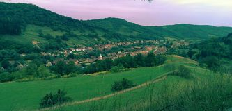 Copsa Mare village in Transylvania Royalty Free Stock Photography