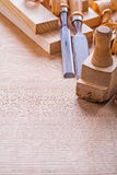 Copsypace image carpentry chisels wooden planks Stock Image