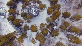 Copter flies over the zoo. Look down at the cages with the animals. 4K stock footage