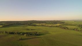 Copter flight at sunset stock video footage