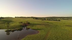 Copter flight at sunset stock footage