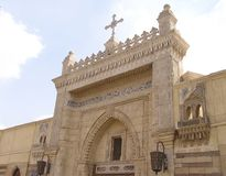 Coptic Church, Cairo, Egypt. Entrance from the street of Hanging Church (El Muallaqa royalty free stock images