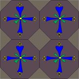 Coptic cross seamless tile pattern. A seamless tiled pattern of brightly colored Coptic crosses on a dark background royalty free stock images