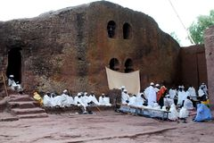 Coptic Easter Mass in Lalibela. Mass in the Rock Hewn Churches of Lalibela in Ethiopia at Easter Stock Photos