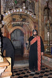Coptic monk in church of the Holy Sepulchre, Jerusalem Royalty Free Stock Image
