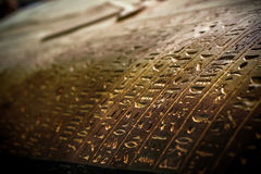 Coptic writings on a coffen of Mummy Stock Photos
