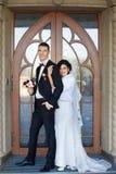 Copule de la boda Novia y novio hermosos Apenas merried Cierre para arriba Fotografía de archivo libre de regalías
