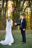 Copule di nozze bello sposo della sposa Merried appena Fine in su Fotografia Stock Libera da Diritti