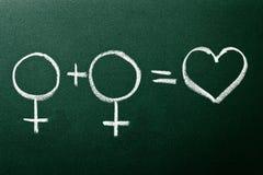 Copule homosexuel dans des symboles d'amour Images stock