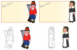 An copule of place cards pilgrims man and woman for thanksgiving dinner vector illustration