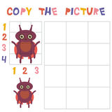 Copy the beetle ladybug picture using the grid, education game for children. Kids learning game insects isolated on white backgrou Royalty Free Stock Image