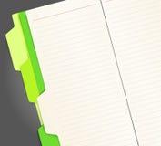 Copy-book con i segnalibri verdi Fotografia Stock