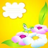 Copy-book de la escuela con las flores y la mariposa Fotografía de archivo libre de regalías